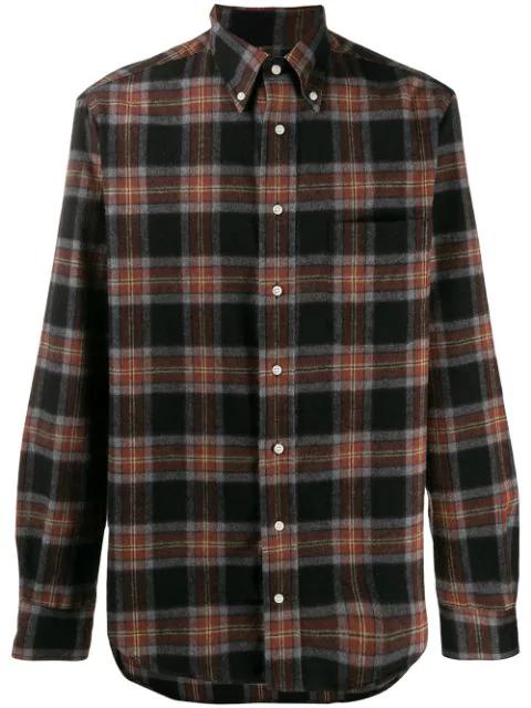 Gitman Vintage Plaid Revised Camp Shirt In Black