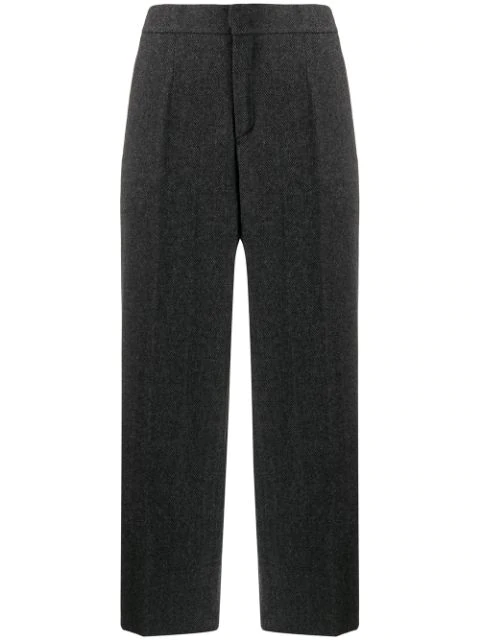 Woolrich Herringbone Cropped Trousers In Grey