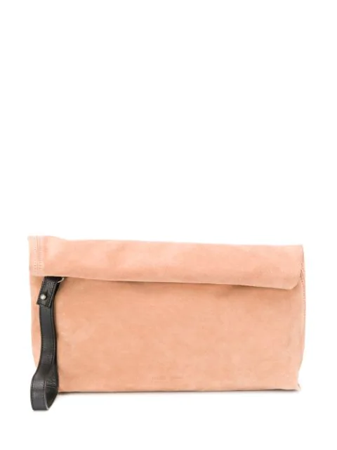 Ann Demeulemeester Roll-top Clutch Bag In Neutrals