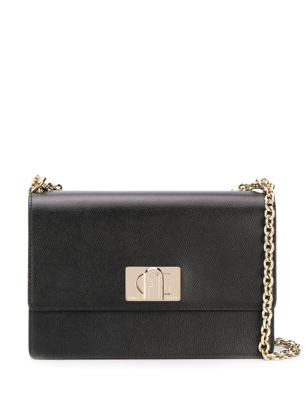 Furla 1927 Shoulder Bag In Black Leather With Shoulder Strap
