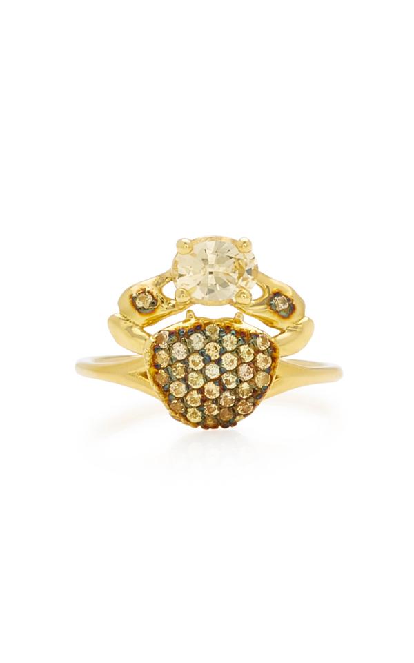 Daniela Villegas Cosquilleo 18k Gold Sapphire Ring In Yellow