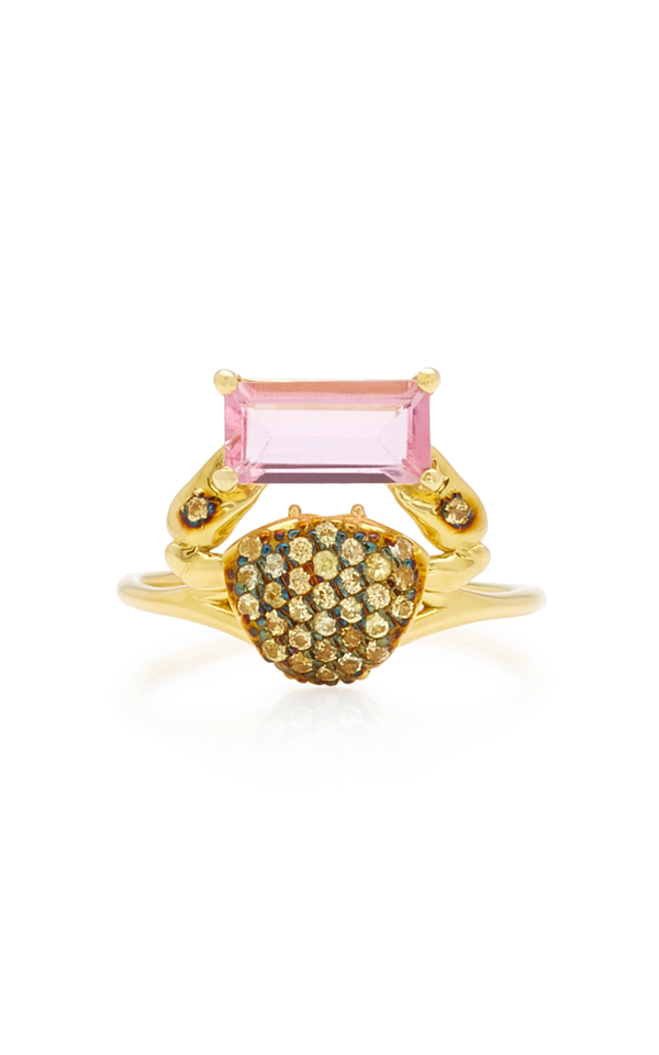 Daniela Villegas Cosquilleo 18k Gold Tourmaline And Sapphire Ring In Pink