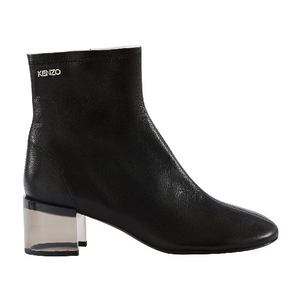 Kenzo K-Round High Heel Ankle Boots In Black