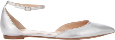 Gianvito Rossi Leather Ankle-Strap D'Orsay Flat, Silver