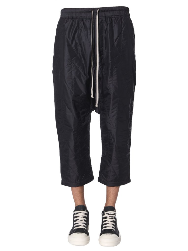 Rick Owens Drkshdw Drawstring Cropped Pants In Black