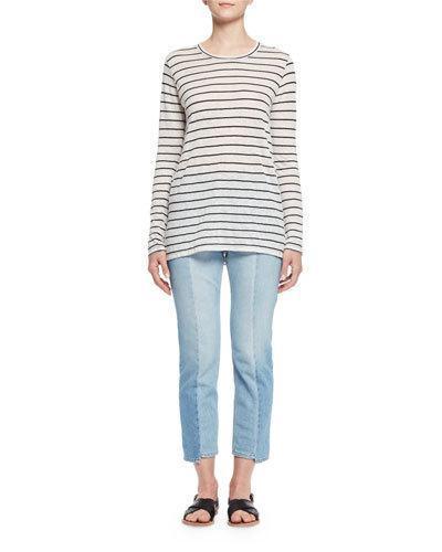 9cd6ffe262b8d Etoile Isabel Marant Aaron Striped Slub Linen-Blend Jersey Top In White