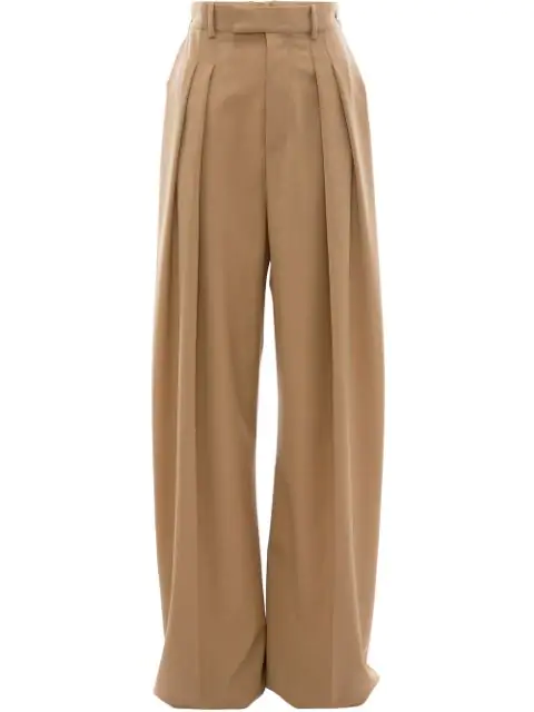 Jw Anderson High Waisted Wide Leg Trousers In Beige