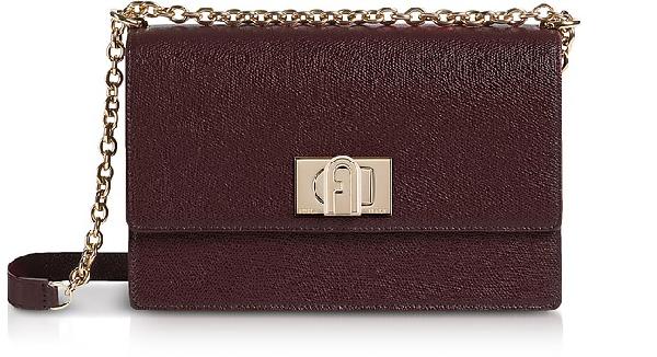 Furla Leather 1927 S Crossbody Bag 24 In Burgundy