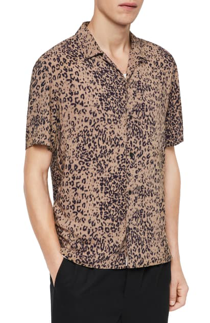 Allsaints Short-sleeve Printed Slim-fit Button-down Shirt In Brown/ Black