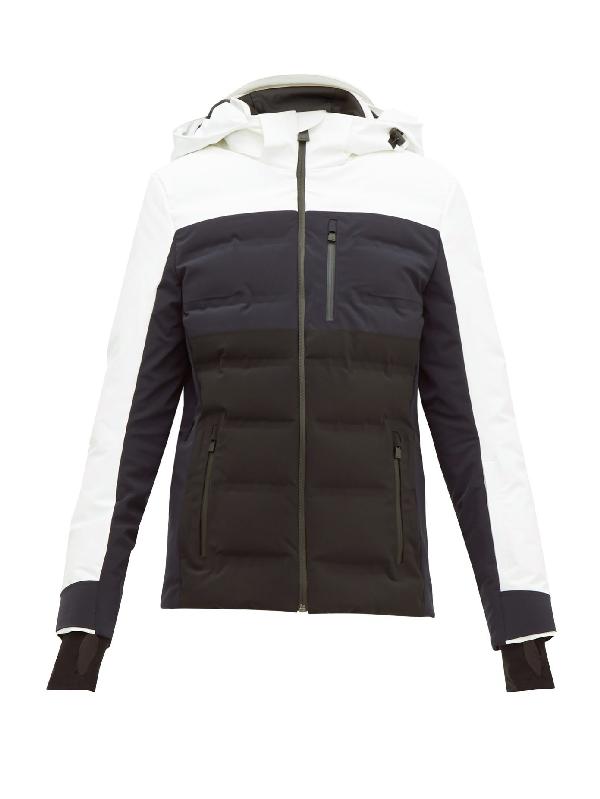 Aztech Mountain 'multi Nuke Suit' Colourblock Panel Hooded Waterproof Puffer Jacket In White Multi