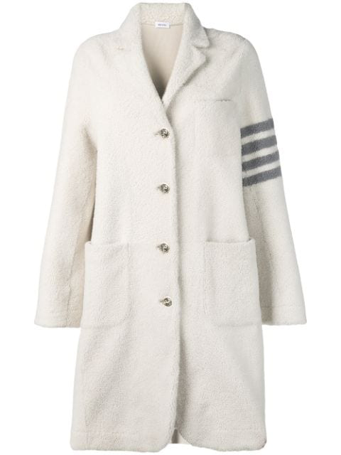 Thom Browne 4-bar Stripe Single-breasted Overcoat In 100 White