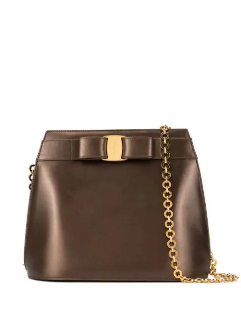 Salvatore Ferragamo Vara Bow Shoulder Bag In Brown