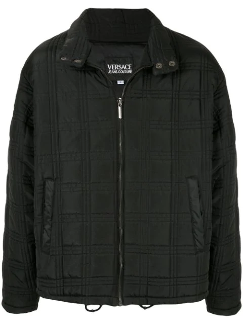 Pre-owned Versace Medusa Button Zip Up Jacket In Black