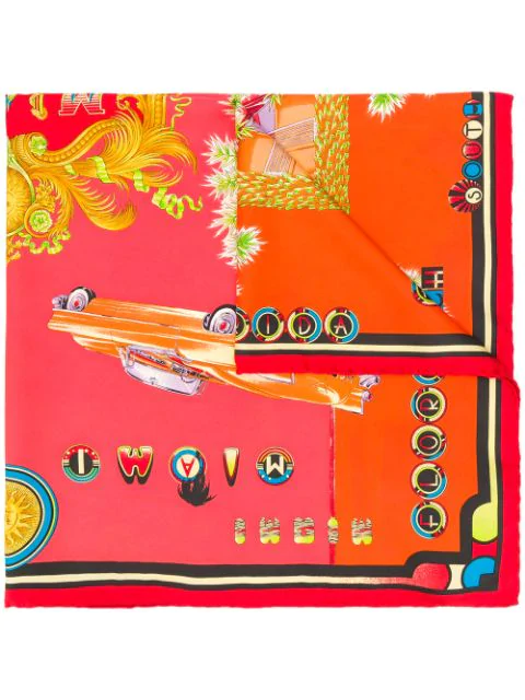 Versace 1990s Silk Miami Scarf In Red