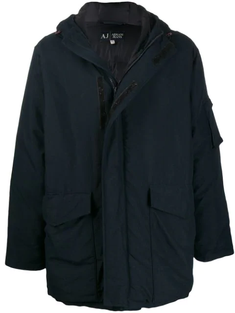 Pre-owned Giorgio Armani 1990s Padded Hooded Coat In Blue