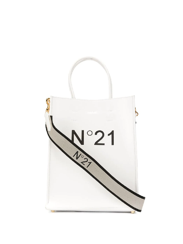 N°21 Logo Printed Tote Bag In White