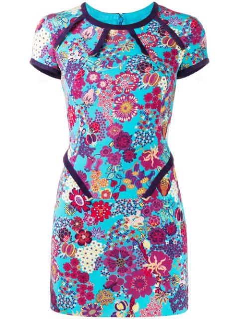 Versace 2000 Floral Mini Dress In Blue