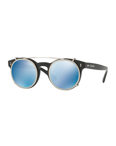 2f072dc13 Valentino Rockstud Rivet 47Mm Clip-On Mirrored Round Sunglasses In  Black/Blue