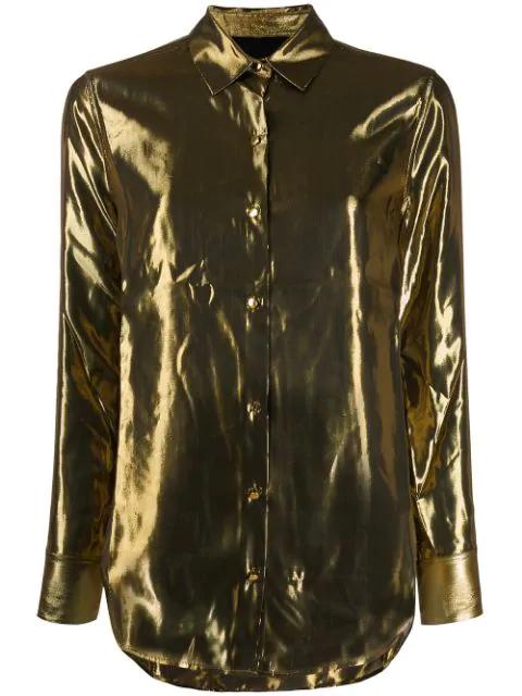 Equipment Burnel Gold Lame Silk-Blend Shirt In Metallic Gold