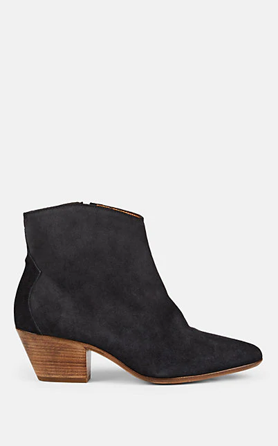 Isabel Marant Dacken Suede Ankle Booties In Faded Black