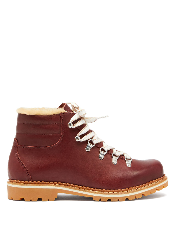 Montelliana Marlena Shearling-lined Leather AprÈs-ski Boots In Burgundy