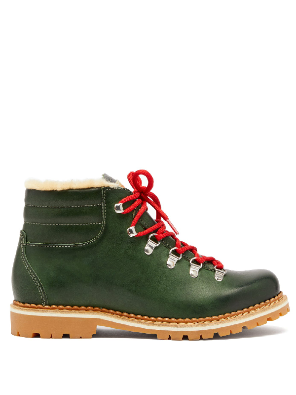 Montelliana Marlena Leather And Shearling Hiking Boots In Green