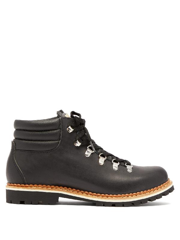 Montelliana Alberta Leather Hiking Boot In Black
