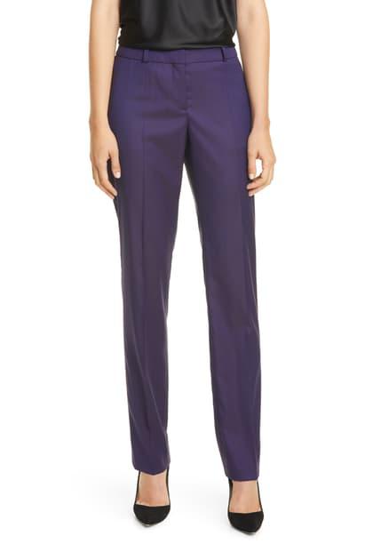 Boss Titana Virgin Wool Pants In Grape