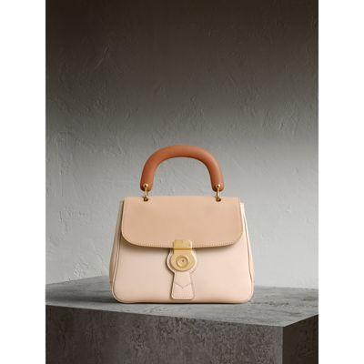 20a1f71cadb Burberry Trench Large Colorblock Leather Top-Handle Satchel Bag, Ivory In  Limestone/Honey