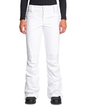 Roxy Juniors' Creek Fleece-lined Ski Pants In Bright White