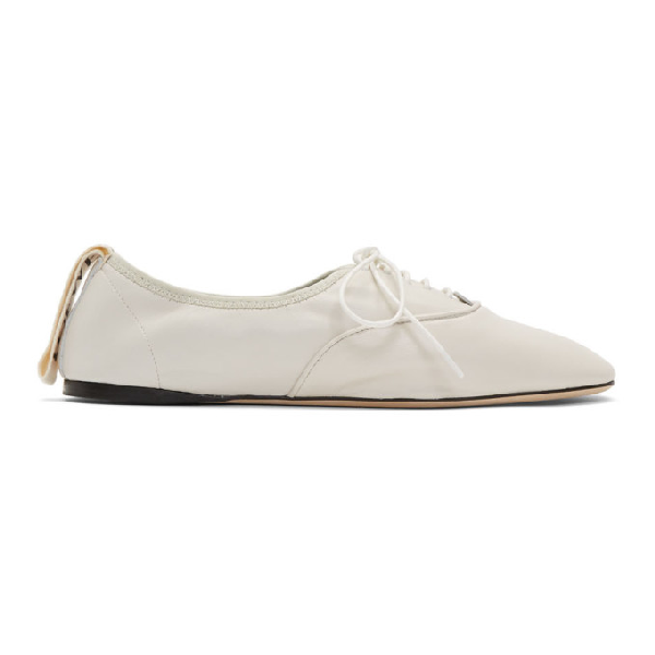 Loewe 10mm Soft Leather Lace-up Derby Flats In 1950 Sftwhi