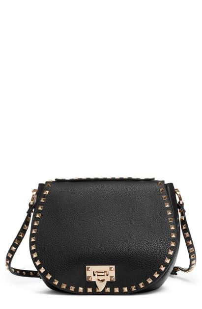Valentino Garavani Small Rockstud Leather Saddle Bag In Nero