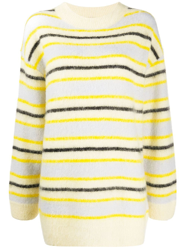 Acne Studios Fluffy Alpaca-blend Mockneck Sweater In Yellow