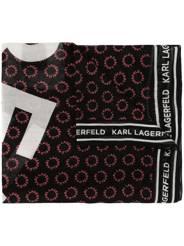 Karl Lagerfeld Logo Print Scarf In Black