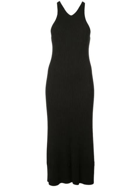 Proenza Schouler Sleeveless Rib Knit Long Dress In Black