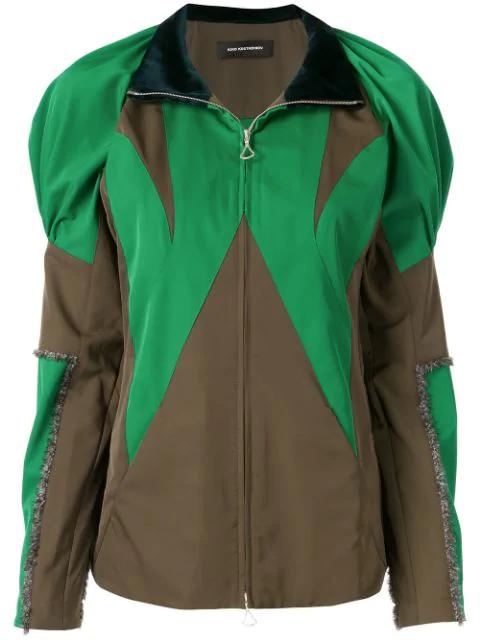 Kiko Kostadinov Colour-block Zipped Jacket In Green