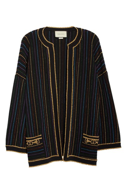 Gucci Metallic Stripe Wool Blend Sweater Jacket In Black