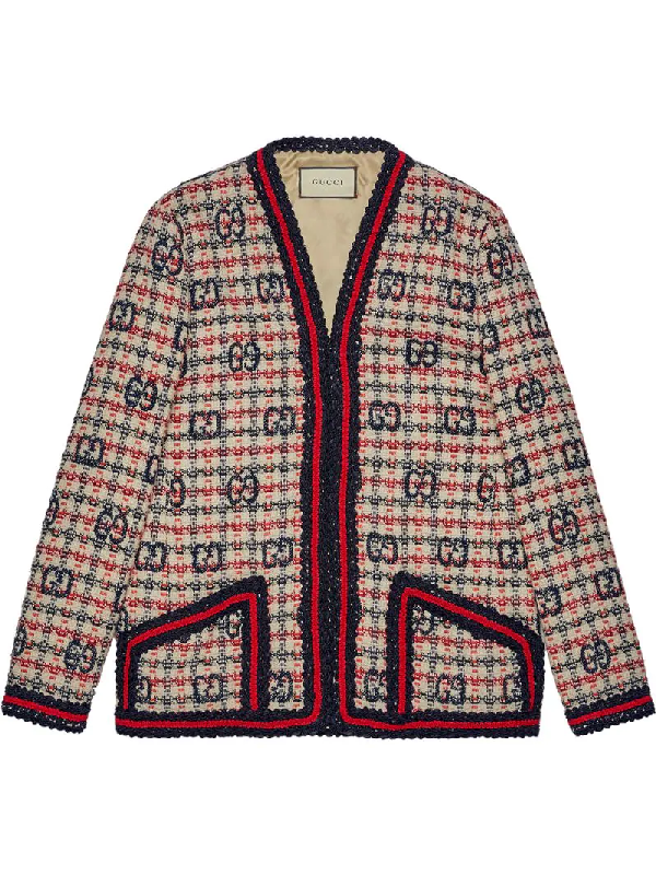 Gucci Gg Fancy Check Wool Blend Tweed Jacket In Blue/white/red Tweed