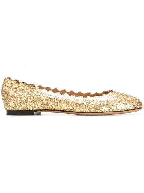 06e46568d1c ChloÉ Lauren Scalloped Metallic Cracked-Leather Ballet Flats In Pink Gold