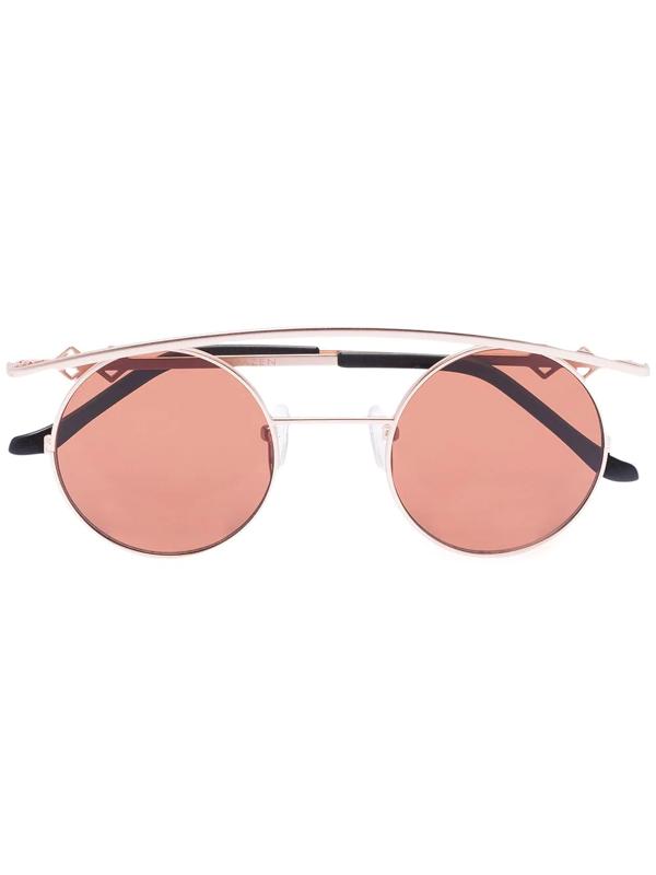 Karen Wazen Gold Tone Retro Xl Round Sunglasses