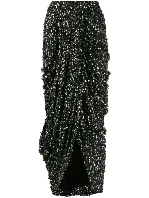 Isabel Marant Sequinned Ruched Midi Skirt In Black
