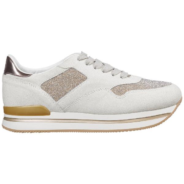 Hogan H222 Glitter Sneakers In Beige