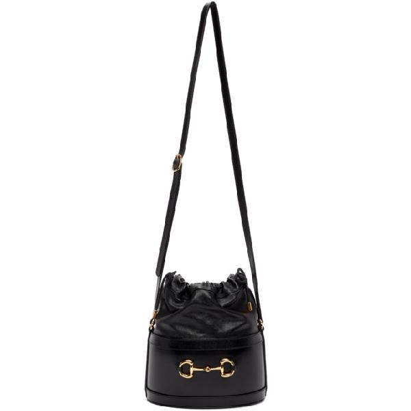 Gucci Morsetto Small Black Leather Bucket Bag