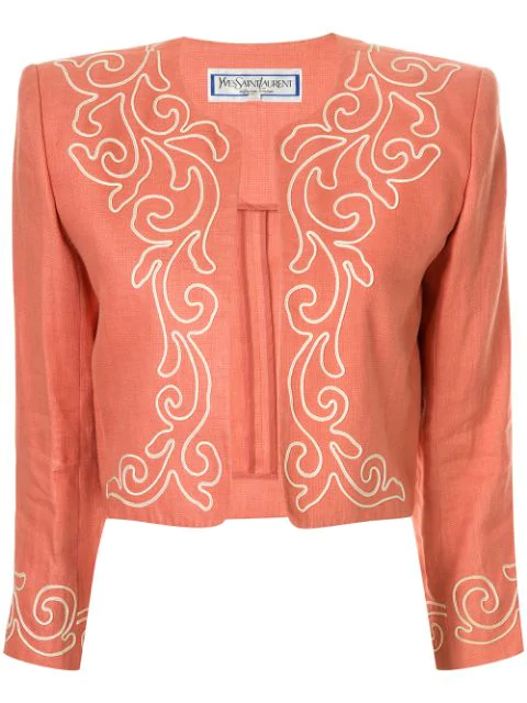 Saint Laurent Linen Toreador Inspired Jacket In Pink