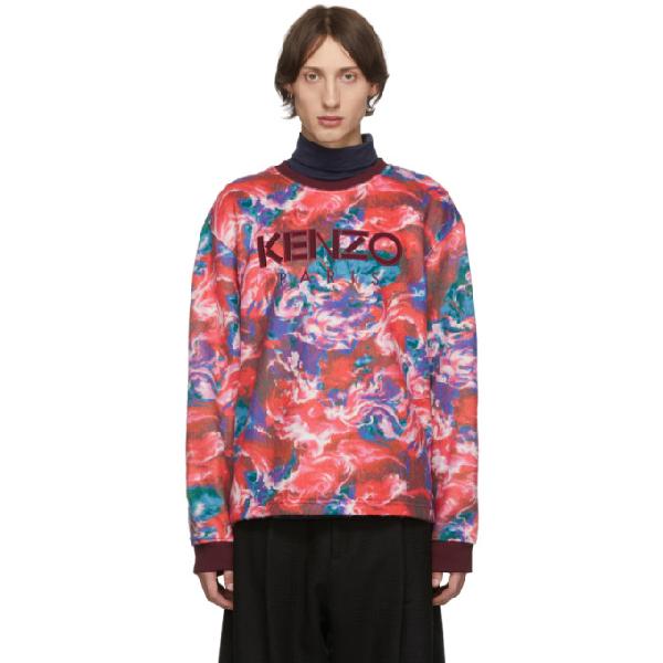 Kenzo World Print Sweatshirt In 70 Medred