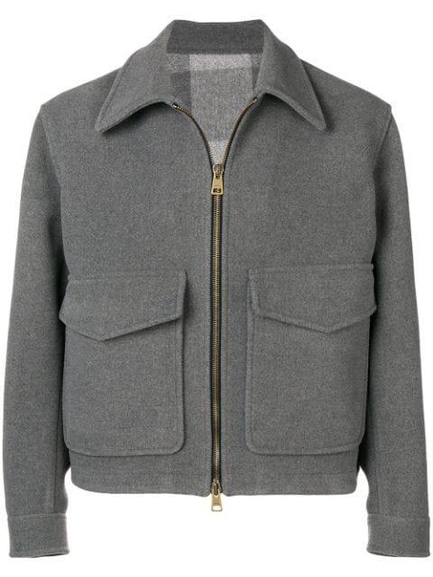 Ami Alexandre Mattiussi Grey Men's Patch Pockets Jacket In 055 Heather Grey
