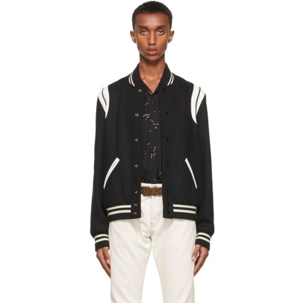 Saint Laurent Teddy Jacket In Black Virgin Wool And Off-white Leather In 1070 Black