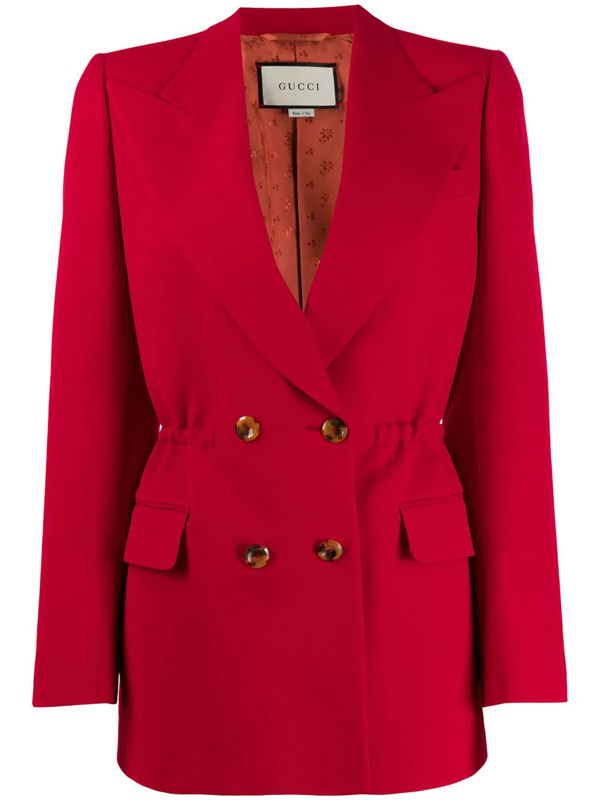 Gucci Elasticated Waist Double-breasted Blazer In Red
