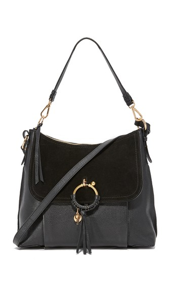 See By ChloÉ Joan Suede-paneled Leather Shoulder Bag In Nr001 Black