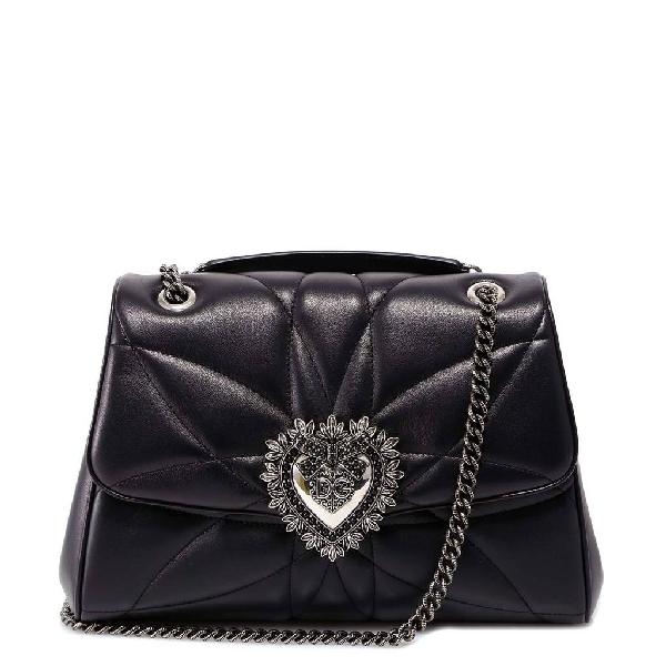 Dolce & Gabbana Devotion Sacred Heart Shoulder Bag In Black
